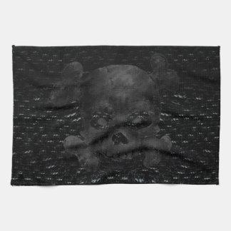 Pirate Flag Custom Black Hand Towel