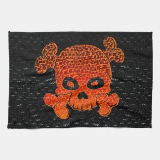 Pirate Flag Custom Fire Fade Orange Bkg Hand Towel