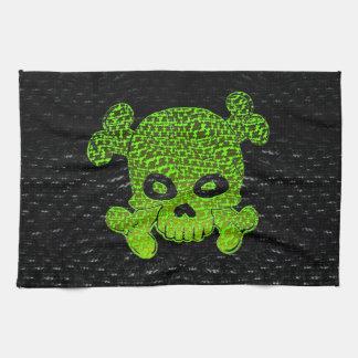 Pirate Flag Custom Green Fade Blue Bkg Kitchen Towel