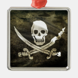 Pirate Flag, Flag of Pirates Square Metal Christmas Ornament