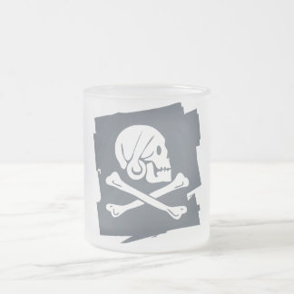 PIRATE_FLAG FROSTED GLASS COFFEE MUG