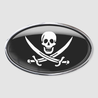Pirate Flag Glass Oval Oval Sticker
