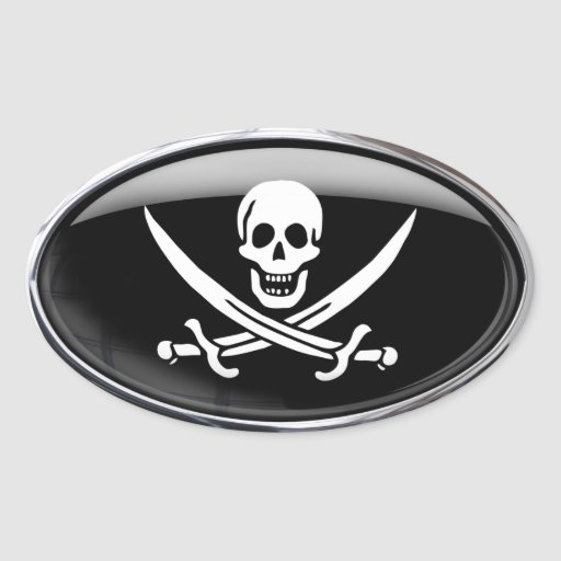 Pirate Flag Glass Oval Sticker