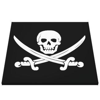 Pirate Flag Jolly Roger Skull and Crossbones Gift Canvas Print