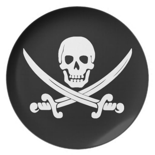 Pirate Flag Jolly Roger Skull and Crossbones Gift Plate