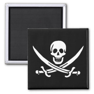 Pirate Flag of Calico Jack 2 Inch Square Magnet
