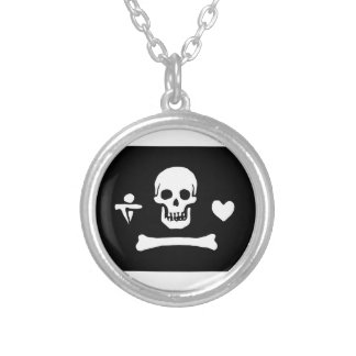 Pirate Flag Of Stede Bonnet Round Pendant Necklace