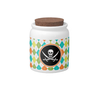 Pirate Flag on Colorful Argyle Pattern Candy Dish
