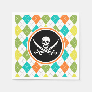 Pirate Flag on Colorful Argyle Pattern Paper Napkin