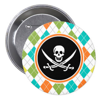 Pirate Flag on Colorful Argyle Pattern Pinback Button