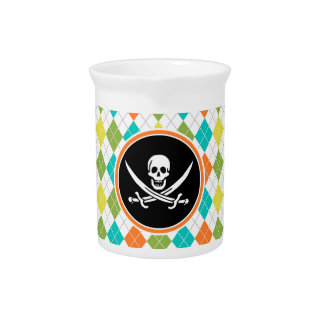 Pirate Flag on Colorful Argyle Pattern Pitchers