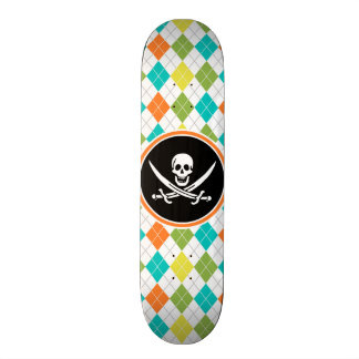 Pirate Flag on Colorful Argyle Pattern Custom Skate Board