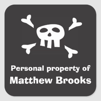 Pirate flag personal property label for boys
