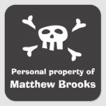 Pirate flag personal property label for boys sticker
