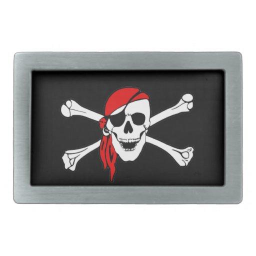 Pirate Flag Skull and Crossbones Jolly Roger Rectangular Belt Buckle
