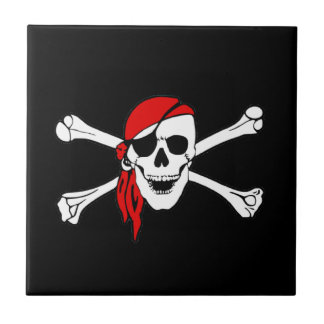 Pirate Flag Skull and Crossbones Jolly Roger Ceramic Tile