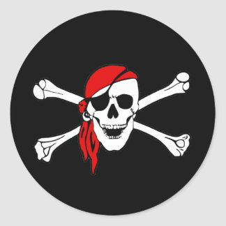 Pirate Flag Skull and Crossbones Jolly Roger Classic Round Sticker