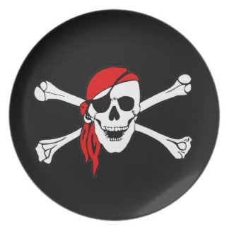 Pirate Flag Skull and Crossbones Jolly Roger Dinner Plate