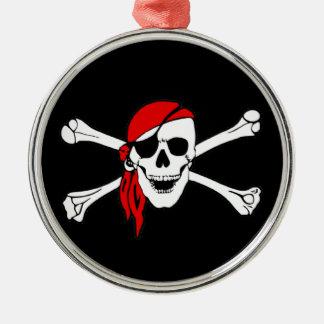 Pirate Flag Skull and Crossbones Jolly Roger Metal Ornament