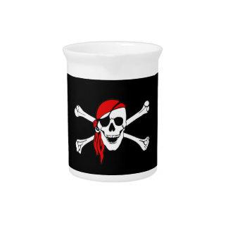 Pirate Flag Skull and Crossbones Jolly Roger Beverage Pitcher
