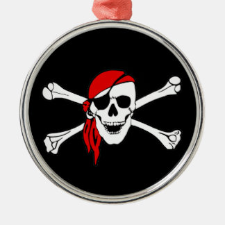 Pirate Flag Skull and Crossbones Jolly Roger Round Metal Christmas Ornament