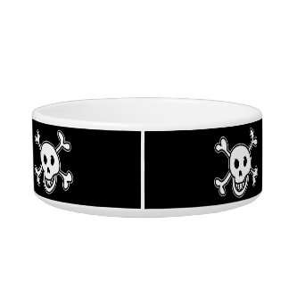 Pirate flag skull and crossbones pet bowl