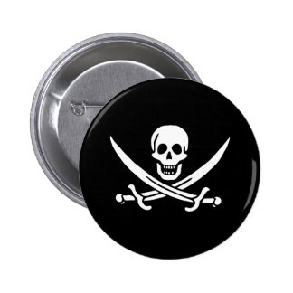 Pirate Flag Skull and Crossed Swords Jolly Roger Button