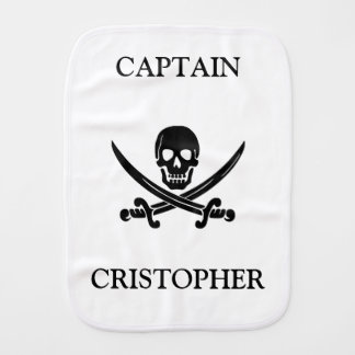 Pirate flag skull baby burp cloth