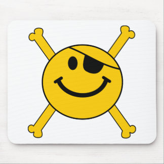 Pirate flag Smiley Mouse Pad
