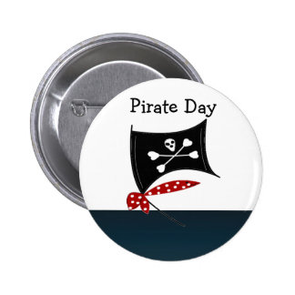 Pirate Flag with Crossbones Button