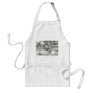 pirate foot up over sketched image adult apron