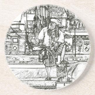 pirate foot up over sketched image beverage coaster