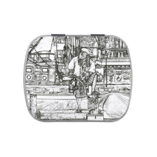 pirate foot up over sketched image jelly belly tin