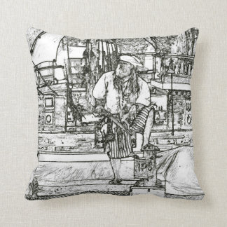 pirate foot up over sketched image pillow