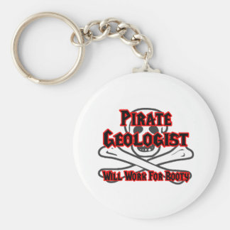 Pirate Geologist ... Will Work for Booty Basic Round Button Keychain