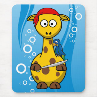 Pirate Giraffe Water Background Mouse Pad