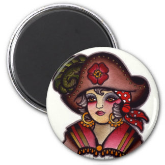 pirate girl 2 inch round magnet