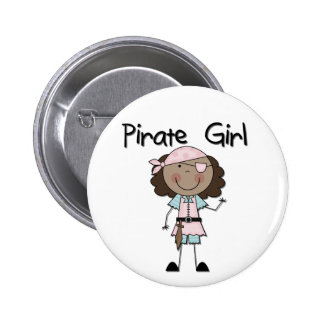 Pirate Girl African American Tshirts and Gifts Button