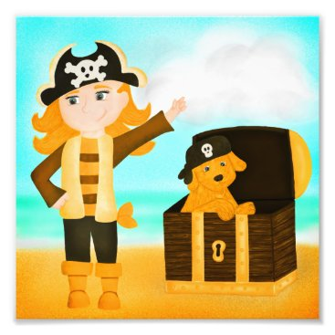 Beach Themed Pirate Girl and Her Golden Treasure Puppy Photo Print