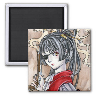 Pirate girl anime magnet by Meredith Dillman