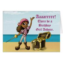 """Pirate Girl Birthday Cards"" Card"