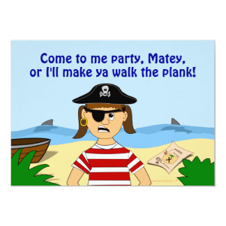 Pirate Girl Birthday Party Invitations for Kids