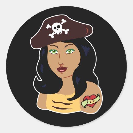 Pirate Girl Classic Round Sticker