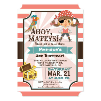 Pirate Girl; Coral Pink & Brown Birthday Party 5x7 Paper Invitation Card