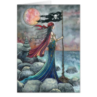 Pirate Girl Gothic Fantasy Art Greeting Card