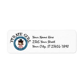 Pirate Girl Label Return Address Label