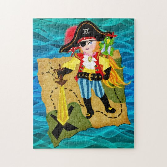 Pirate girl  of the Caribbean puzzle for kids