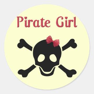 Pirate Girl Round Stickers