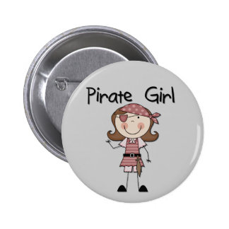 Pirate Girl Tshirts and Gifts Button