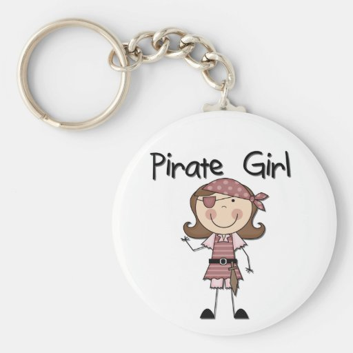 Pirate Girl Tshirts and Gifts Basic Round Button Keychain